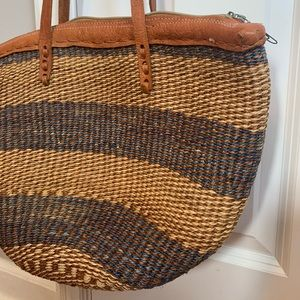 Vintage woven leather detail bag